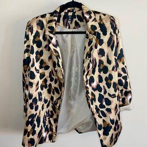 Missguided Leopard Print Satin Jacket Size 10